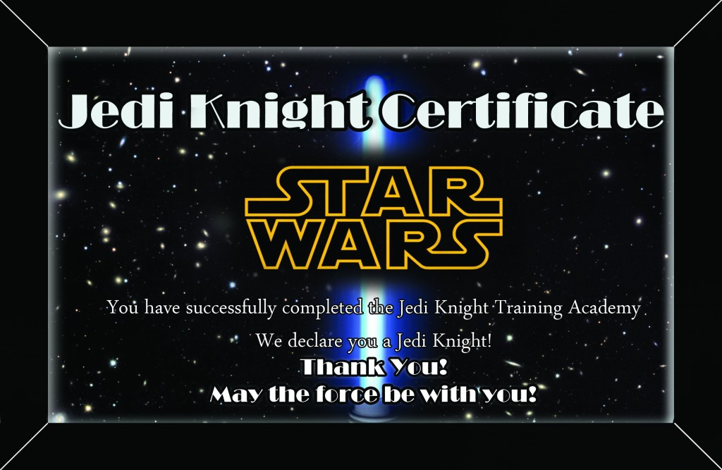 Star Wars Certificate